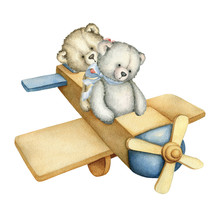 Hand Drawn Watercolor Wooden Airplane With Teddy Bears. Toy. Retro Toy. Plane. Teddy Bear. Watercolor Illustration On White Background