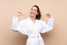 Young Woman Doing Karate Proud...