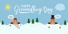 Groundhog Day Vector Illustrat...