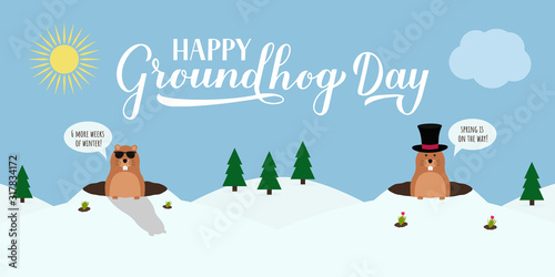 Photo Groundhog Day vector illustration with modern calligraphy hand lettering and cute cartoon marmot crawling out of a hole on a cloudy day