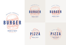 Hand Drawn Fast Food, Burger And Pizza Vector Set Illustration. Set Of Vector Labels, Logo, Stickers.