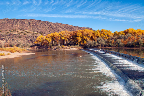 Angostura Dam on the Rio Grande in Autumn Canvas Print