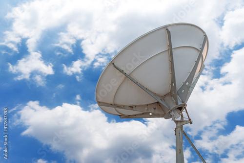 Telecommunications radar parabolic radio antenna as part of global communication Canvas Print