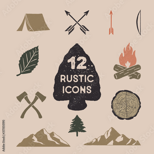Vintage Nature Icons Wallpaper Mural