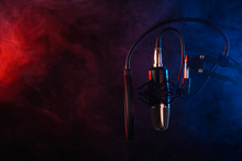 Real-time Studio Condenser Microphone With Pop-filter And Anti-vibration Mount With Background Illumination, Colored Smoke. Side View With Space