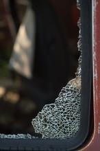 Broken Glass In Old Car Window