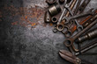 canvas print picture - Flat lay Old hand tools ,Pliers screwdriver wrench rusted iron metal tools on Steel plate at garage