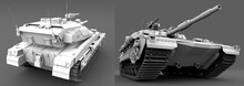 High Detail White Tank With Not Real Design Isolated On Grey Background, Tank Fight Concept - Military 3D Illustration