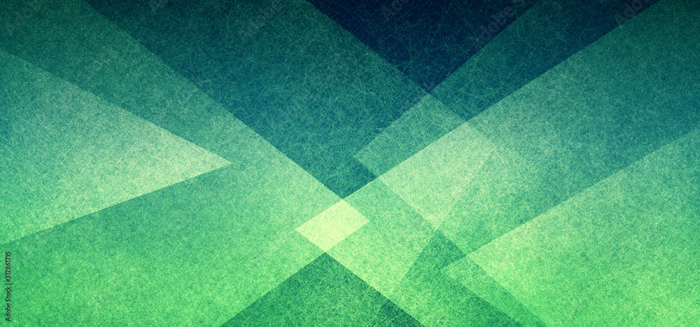 Fototapeta Abstract geometric background in green with texture, layers of triangle shapes in modern art style background design