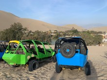 Colorful Sand Buggies Near Oasis