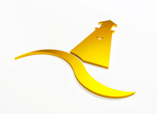 Lighthouse 3D Gold Graphic Log...