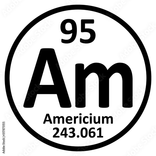 Periodic table element americium icon. Canvas Print