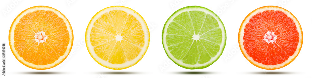 Fototapeta The collection of citrus fruit slice is cut into a sphere. Orange, Lemon, Lime, and Pink grapefruit with drop shadow isolated on white background. Commercial image with clipping path.
