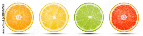 The collection of citrus fruit slice is cut into a sphere. Orange, Lemon, Lime, and Pink grapefruit with drop shadow isolated on white background. Commercial image with clipping path.