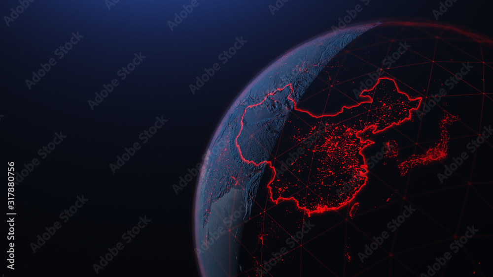 Fototapeta 3d iillustration of globe with China corona virus Spreads in Asia