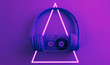 canvas print picture - Headphones with audio cassette. 80's synth wave and retrowave glowing triangle futuristic aesthetics. Old fashioned abstraction concept