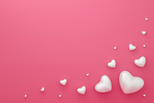 Happy Valentines Background With Abstract White Hearts Frame Pattern On Love Pink Wallpaper. Blank Romantic Template. 3D Rendering.