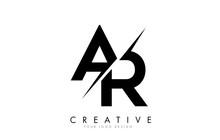 AR A R Letter Logo Design With A Creative Cut.