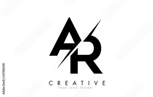 Photo AR A R Letter Logo Design with a Creative Cut.