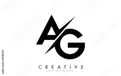 Photo AG A G Letter Logo Design with a Creative Cut.