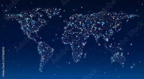 Fototapeta mapa świata   world-map-in-clear-sky