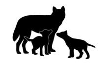 Wolf Mit Welpen Silhouette