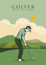 Golfer Poster Design Illustration Man In Field Vintage Retro