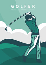 Man Golfer Stick Poster Vintage Illustration Retro Design