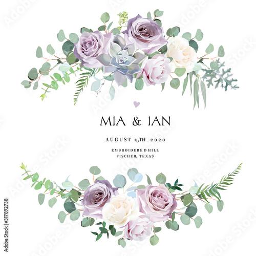Stampa su Tela Dusty violet lavender,creamy and mauve antique rose, purple pale flowers