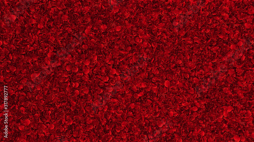 Photo carpet of red rose petals