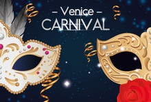Poster Of Venice Carnival With Masks And Decoration Vector Illustration Design