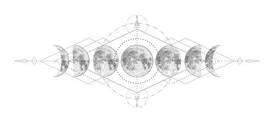 Čarobni mjesec s dizajnom tetovaža sa svetom geometrijom. Jednobojna ručno nacrtana vektorska ilustracija, izolirana na bijeloj pozadini