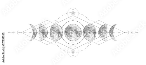 Fotografia Magic moon with sacred geometry tattoo design