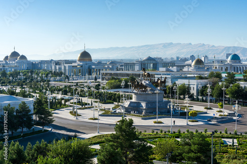 View of the presidential palace (Oguzhan) in Ashgabat Turkmenistan Canvas Print