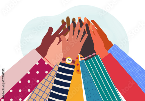 Hands of diverse group of people together raised up Wallpaper Mural