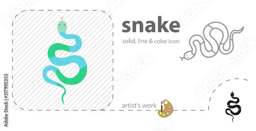 snake flat, solid, line icon Wallpaper Mural