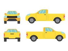Set Of Yellow Pickup Truck Sin...