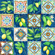 Seamless Pattern Of Watercolor Painted Mosaic Tiles With Hand Drawn Lemon Fruits And Leaves, Floral Ornaments In Sicilia Mediterranean Majolica Ceramic Painting Style. Wallpaper Décor, Batik Print