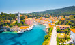 canvas print picture - Scenic view of the blue lagoon village Veli Losinj on sunny day. Location place Kvarner Gulf, island Losinj, Croatia, Europe.