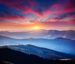 canvas print picture - Incredible landscape in the mountains at sunset.