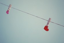 Hearts Hanging On Clothesline