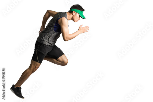 Portrait of an asian sport man wearing sportwear and green visor for running Wallpaper Mural