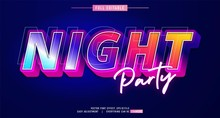 Premium Text Effect Editable Vector Template, Neon Night Style, Modern Look, With The Effect Of Shining Light, Editable Text Effect In Adobe Illustrator, Easy With Just One Click, Fonts Not Included
