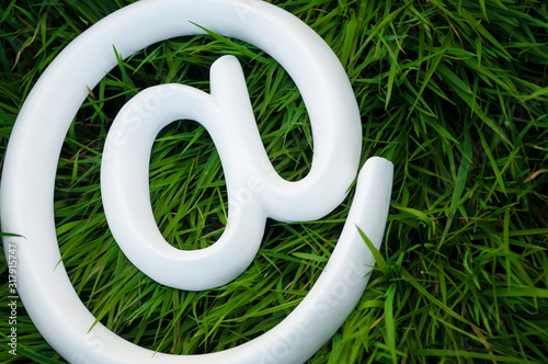 Simple white arroba at symbol resting in lush green grass Canvas Print