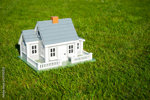 Valokuvatapetti Miniature house with white picket fence standing in the center of lush green gra