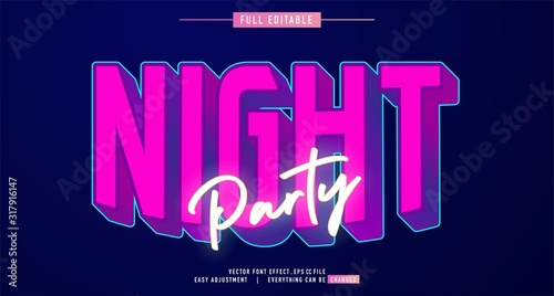 premium text effect editable vector template, neon night style, modern look, wit Wallpaper Mural