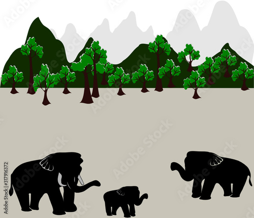 Thai mother-child elephant family, And forestry mountains, vector illustration Wallpaper Mural