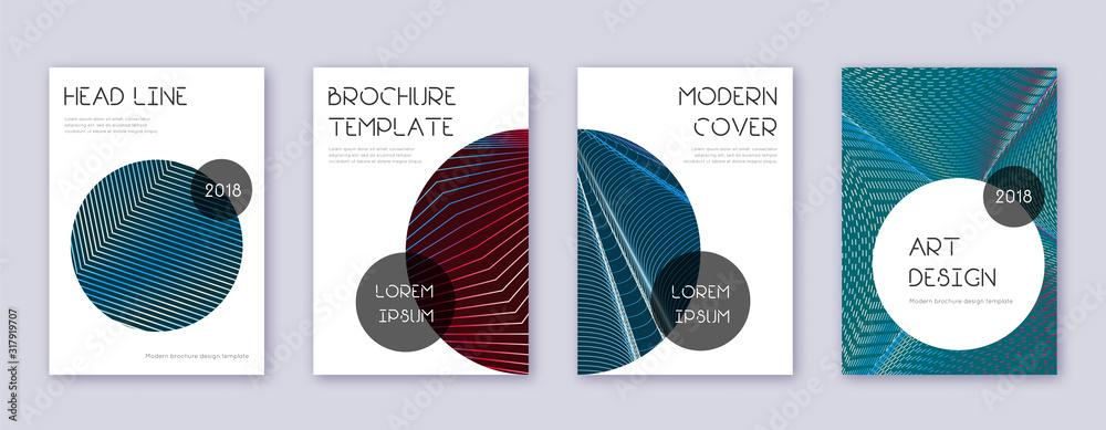 Fototapeta Trendy brochure design template set. Red abstract