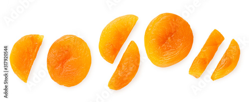 Photo composition of dried apricot and slices isolated on white background