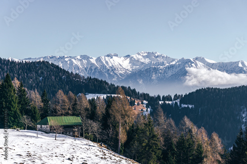 The snowy mountains, the woods and the mountain pastures during a fantastic winter day, near the town of Borno, Italy - December 2019 Wallpaper Mural